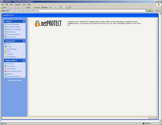 dotnetProtect administrative console
